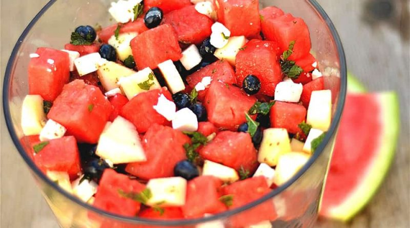 WATERMELON BLUEBERRY MINT SALAD WITH FETA
